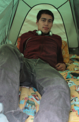 Brown inside his tent.