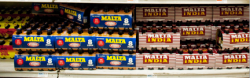 Rows of Malta at Key Food.