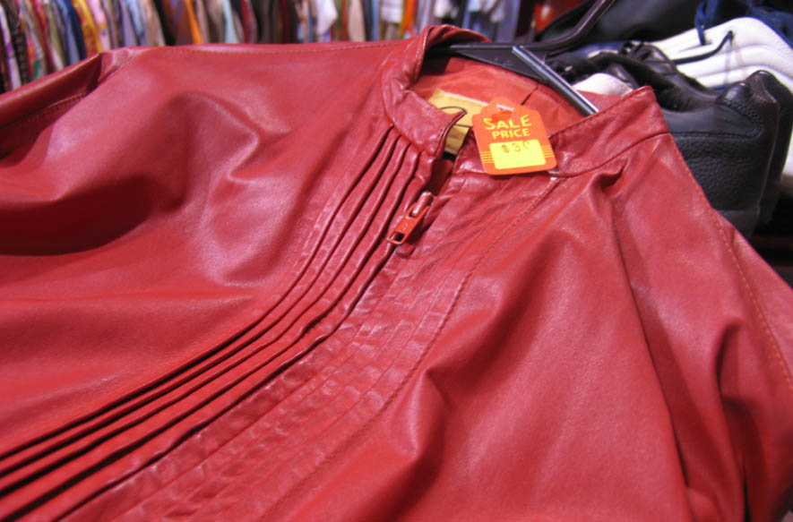Red leather jackets at Vice Versa, $30.