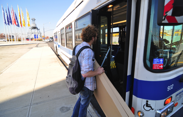 The city bus. Luckily this one is empty.