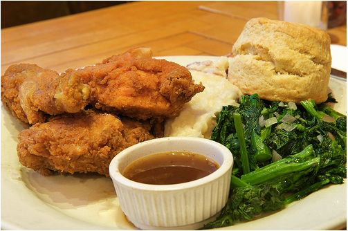 Maggie Brown's fried chicken, photo by Brad Gilley.