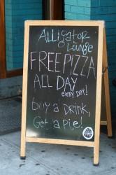 alligator lounge pizza sign