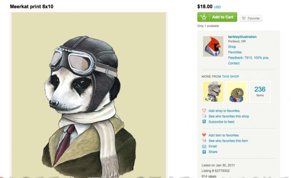 Ryan Berkley Meerkat print, $18 on Etsy.