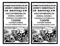 It's potluck democracy at Occupy Brooklyn meeting tomorrow