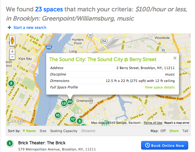 Finding A Performance Space Is Now As Easy As Ordering Dinner - Easy map of nyc