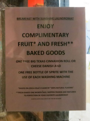 Free laundromat brunch, with a side of snark