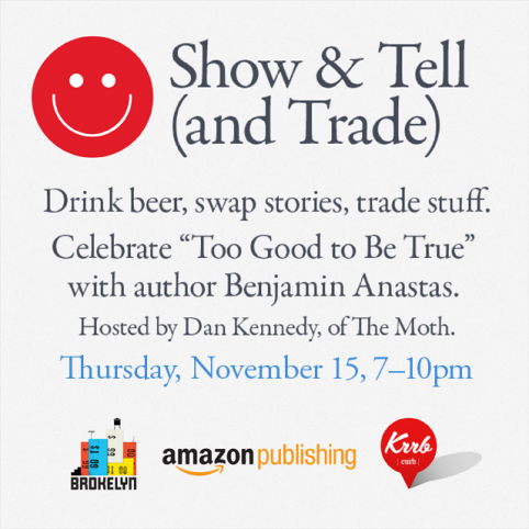 Show and Tell (and Trade) is tomorrow, and now it has free beer and food