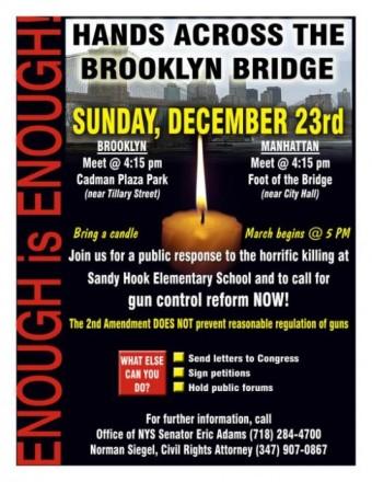 Shine a light on gun control Sunday at the Brooklyn Bridge