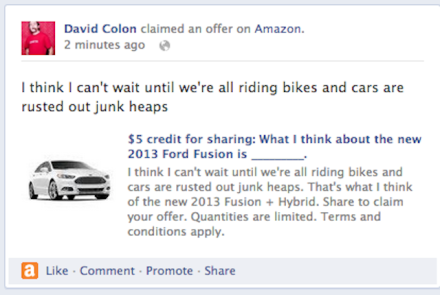 Lifehack: $5 Amazon credit for pimping out your Facebook wall