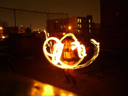 Just another weekend, fire dancing in your underwear at the Bushwick Starr. via Flickr user Graham Coreil-Allen
