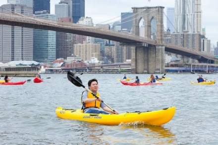 Kayaking, free. Also free? Falling into the East River, thrashing around like a goof