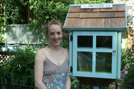 Wilenta and her tiny library. Photo by Edward Smith, via Little Brooklyn Farm