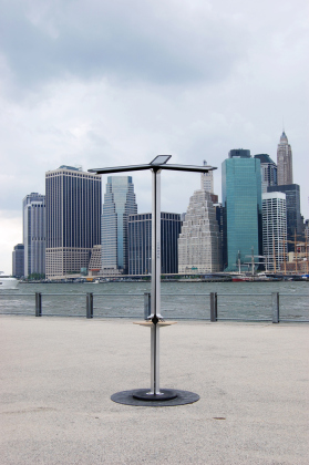 New at city beaches: solar-powered cell phone chargers!