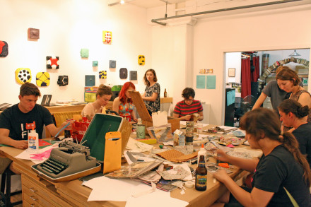 Zinesters hard at work. Photo by Spencer Parente