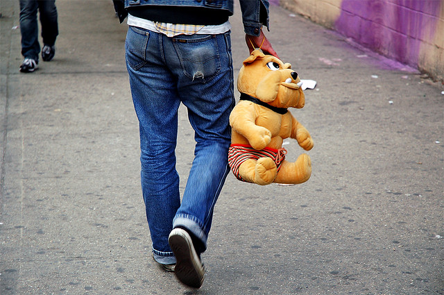 A typical Brooklyn dude, wandering the streets with no one to give a stuffed animal to. via Flickr user brainware3000