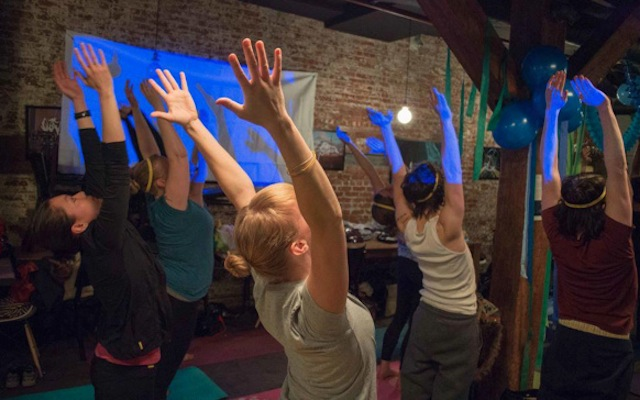 Bendy elbows: Free pop up yoga/open bar/singles event next week
