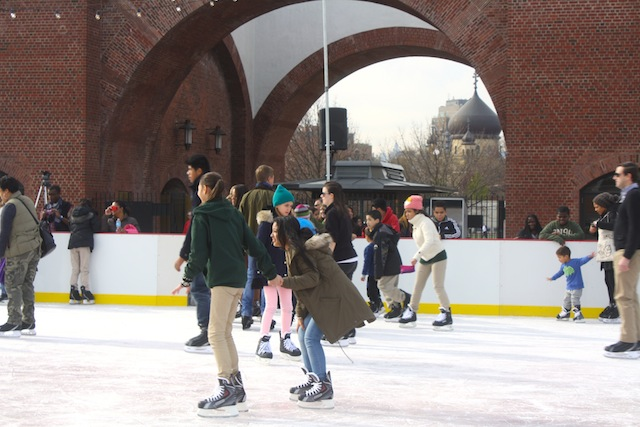 Chilling out at the McCarren Park ice skating rink opening