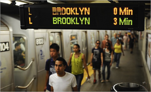 No need to move faster than a stroll on the L train platform.