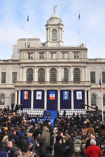 de blasio inauguration crowd