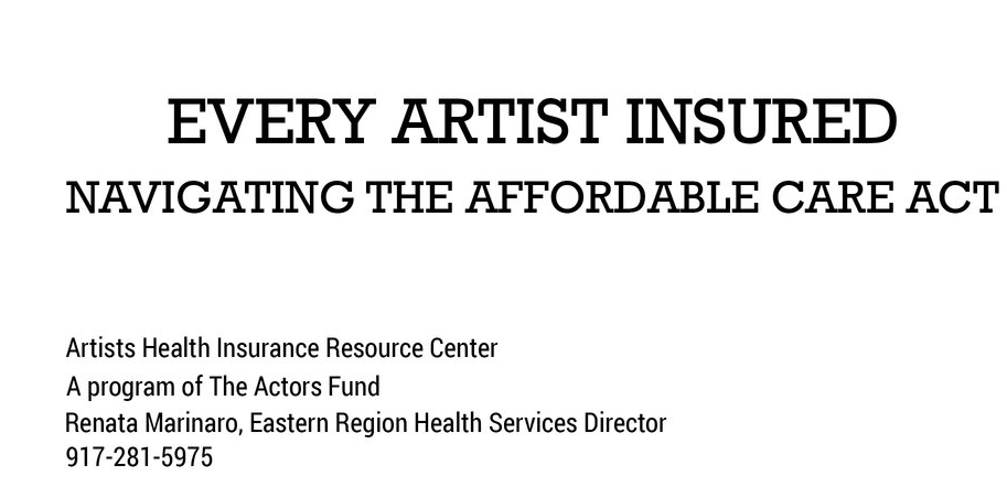 Here's a video to help artists figure out health insurance