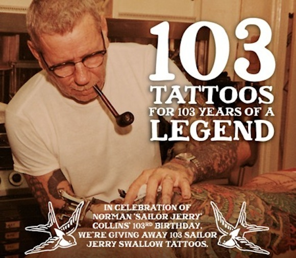 Free tattoo alert! Celebrate Sailor Jerry's birthday with some new ink