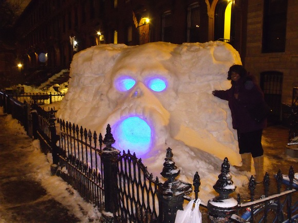 Brooklyn Bridge Park putting all this snow to good use with snow sculpture contest