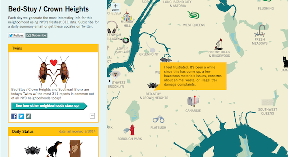 Interactive map turns the city's 311 complaints into opinionated cartoons