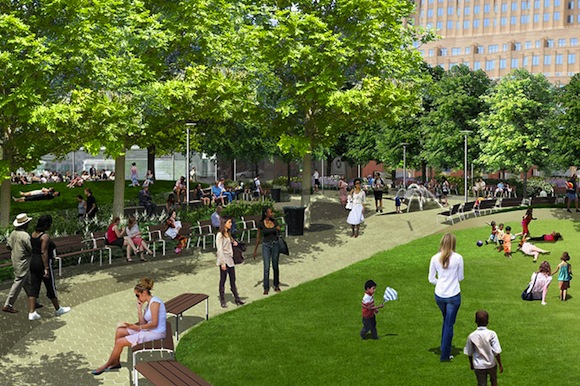 Downtown getting nice new park along with rebranding, finance bros