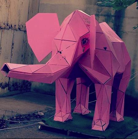 Giant pink elephant up for grabs in DUMBO