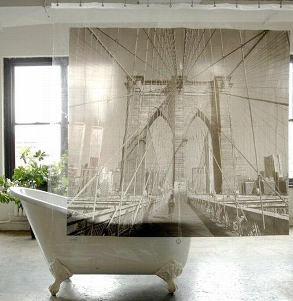Boring shower curtain? Put a bridge on it!