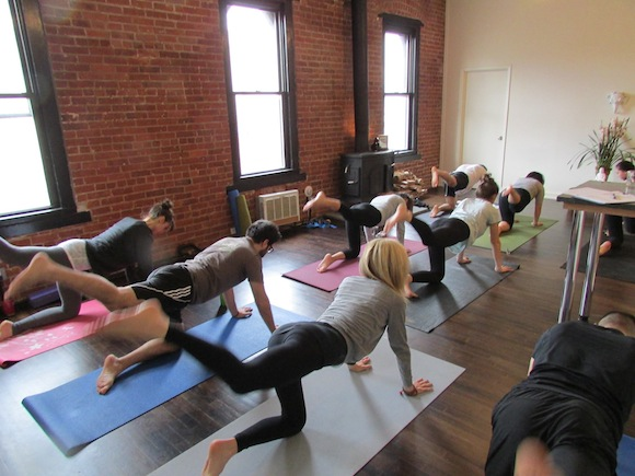 Show up to work relaxed, for once, with $10 pop up yoga classes this week