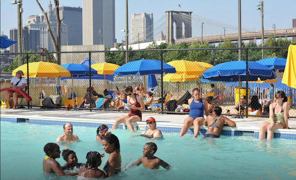 The Brooklyn Bridge Park Pop-Up Pool opens for swimming business today!