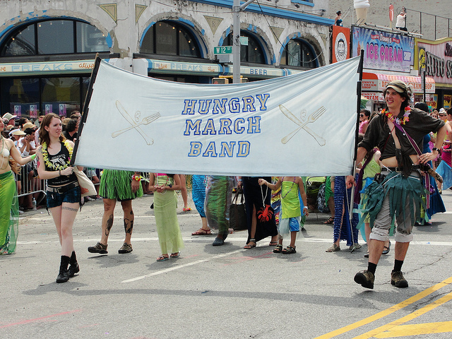 The Hungry March Band, as seen in the 2011 Mermaid Parade. Via the band's Flickr.