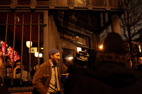 Jonathan Ames held a Bored to Death funeral at Brooklyn Inn. Image via City Room.
