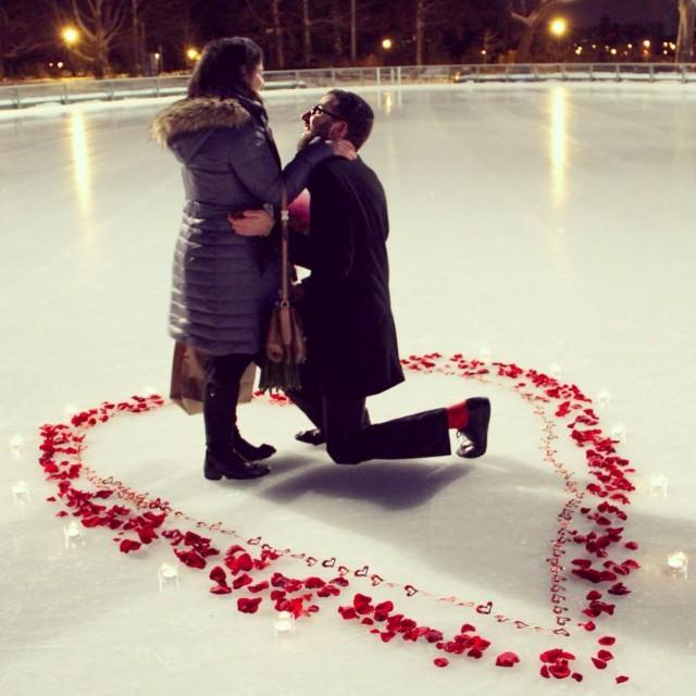 hey look, people get engaged on ice that is not in midtown too. Via FB.