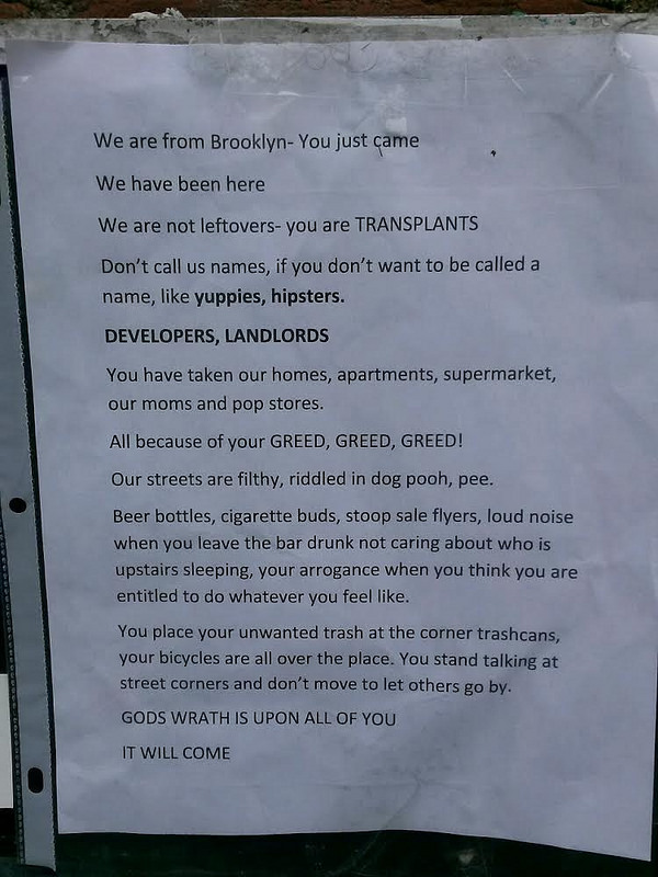 Flyers promise 'God's wrath' is coming for Carroll Gardens gentrifiers
