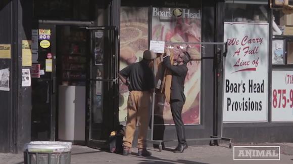 ANIMAL New York set up a hoodie check outside an anti-hoodie bodega