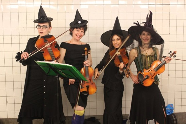The Violin Femmes in Halloween garb this year