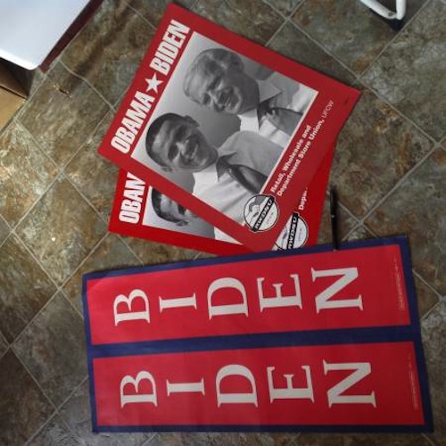 A Joe Biden superfan in Crown Heights is giving away his giant BIDEN poster