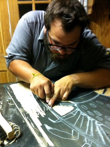 Lane carving woodblock
