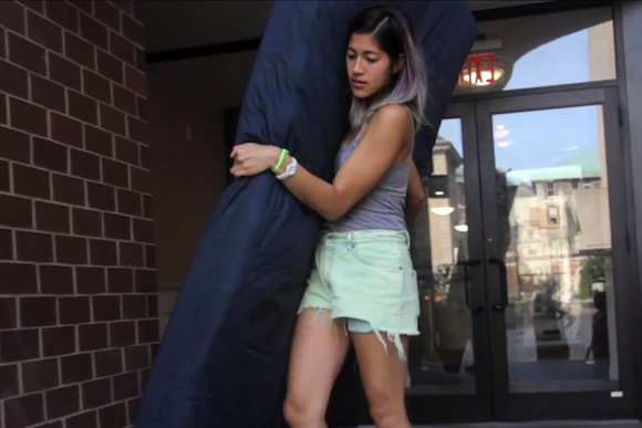 Sunday at the Brooklyn Museum, Columbia's Emma Sulkowicz talks about her mattress-carrying protest