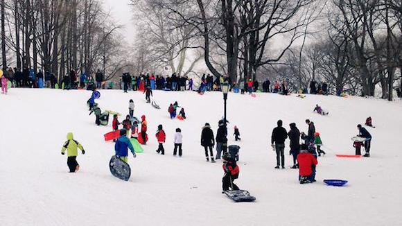 Free sleds and hot chocolate are in Fort Greene Park today! [UPDATE: Or not]
