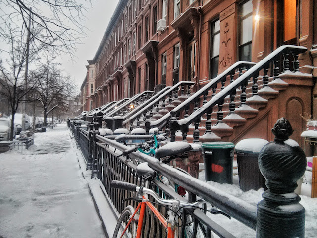 Those nice Brooklyn brownstones you'll never own, with a nice dusting of snow