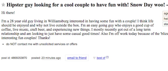 Hook up craigslist