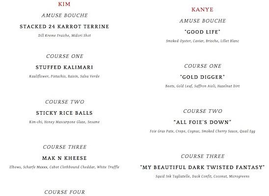 kimye menu brucie