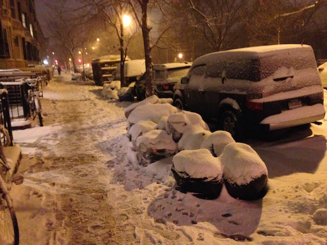 It's not a blizzard in New York without garbage covered in snow. Photo be David Colon