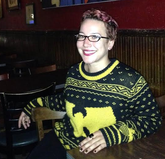 Eva McClosky, captain of the Brooklyn Bombshells, in a sweater.