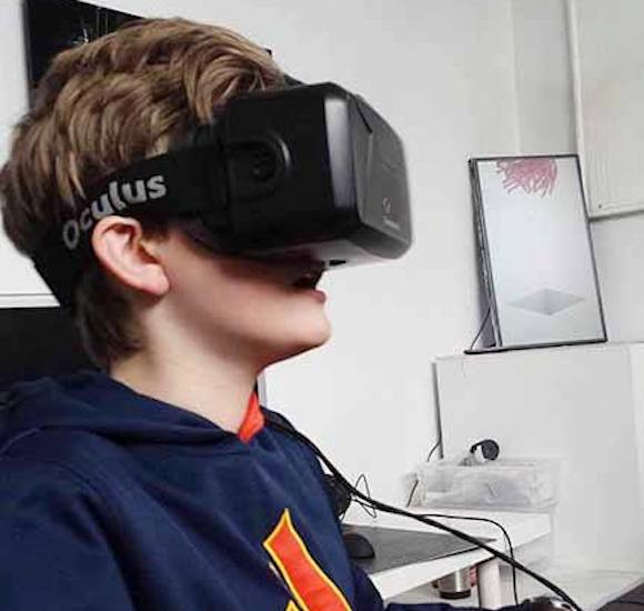 A youngster trying virtual reality on for size, thanks to Kitsplist. via Facebook