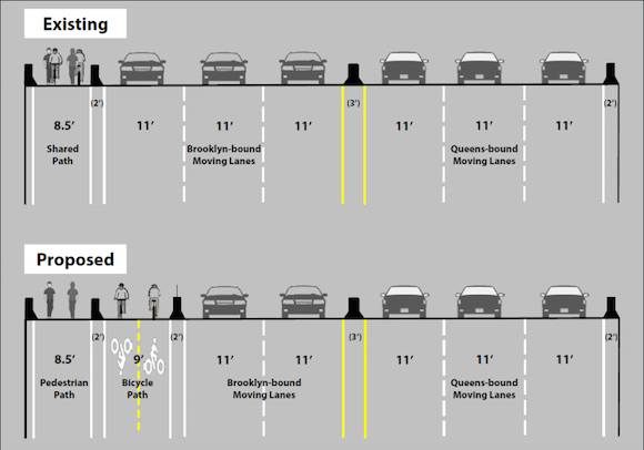 The proposed bike path along the Pulaski bridge. Via nyc.gov