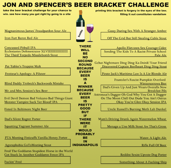 This fake beer bracket is better than the real beer bracket
